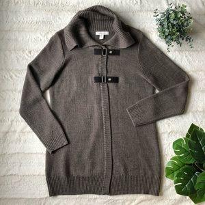 Wool blend cardigan with buckles -XL | Ellen Tracy